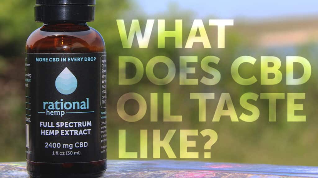"Blog header image reading ""What does CBD oil taste like?"""