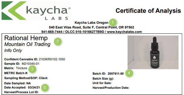 There are several pieces of basic information a COA should include: testing lab, testing company, matrix, Batch ID, and Date.